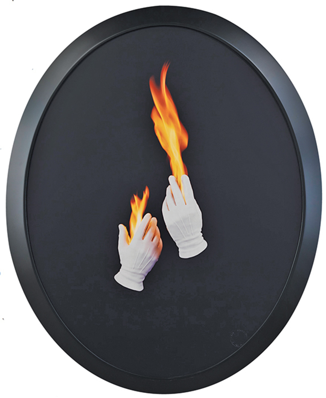"Sarah Charlesworth, Trial by Fire, 1992–93, Cibachrome, lacquered wood frame, 41 1/4 × 33 1/2"". From the series ""Natural Magic,"" 1992–93. © The Estate of Sarah Charlesworth."