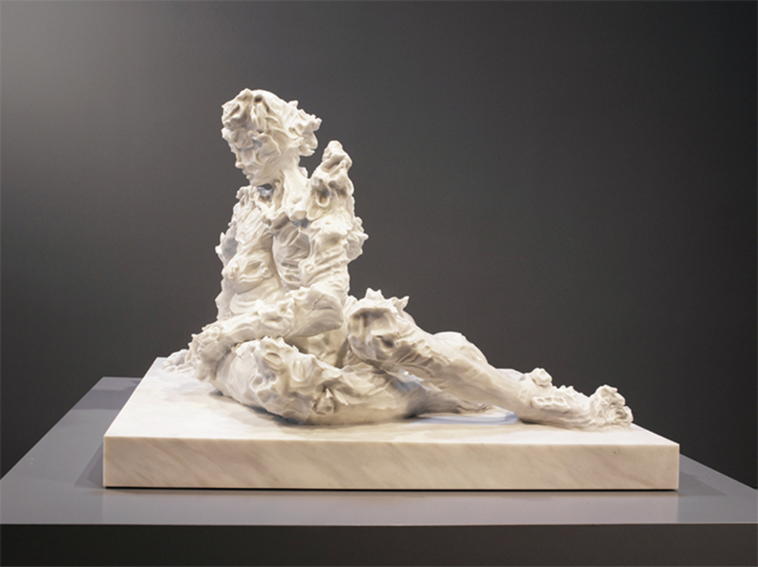 "Kevin Francis Gray, Seated Nude, 2017, Carrara marble, 43 3/8 × 48 1/8 × 59 1/2""."