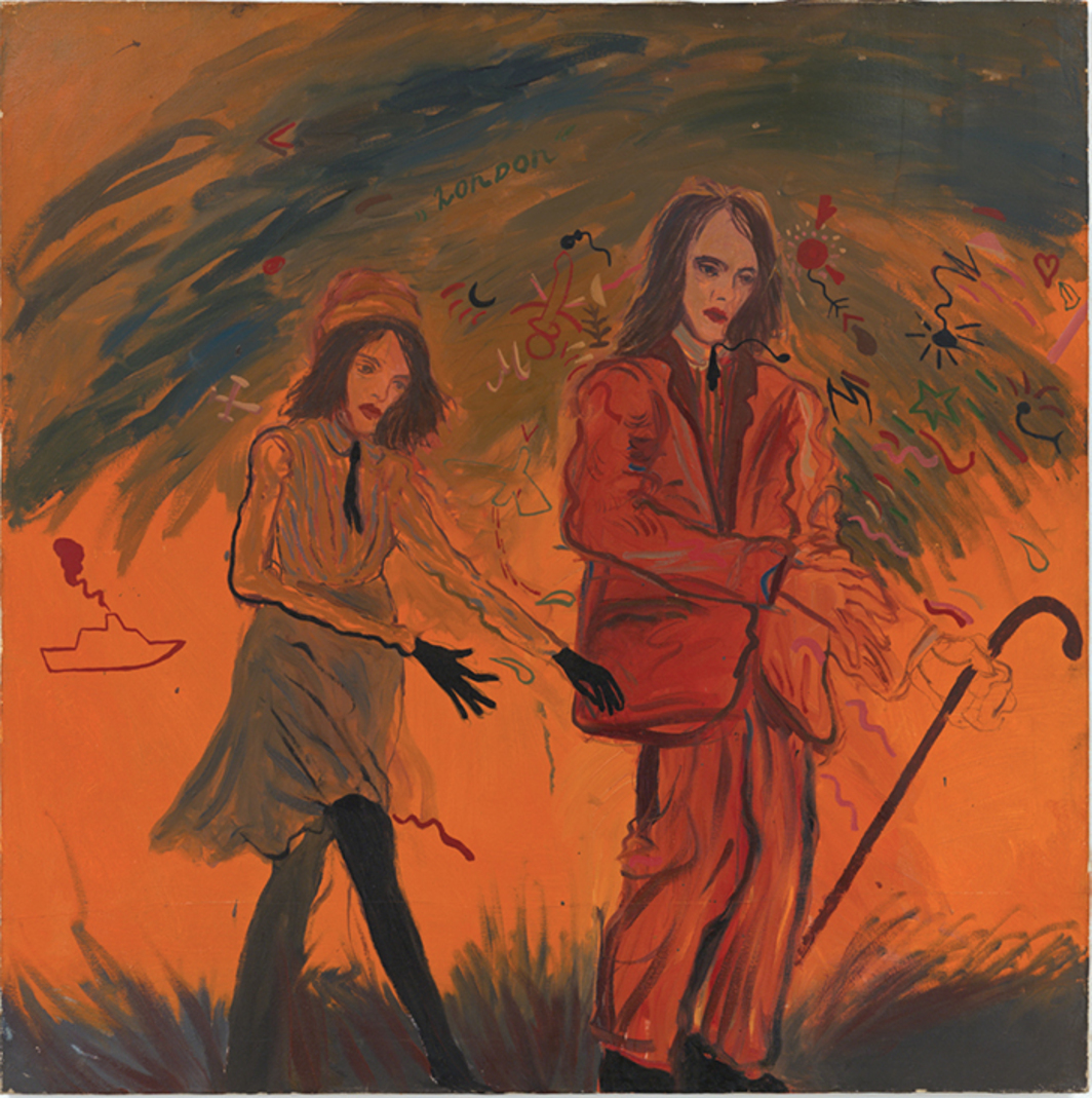 "Karlo Kacharava, English Romanticism, 1993, oil on canvas 39 3/8 × 39 3/8"". From ""Sputterances."""
