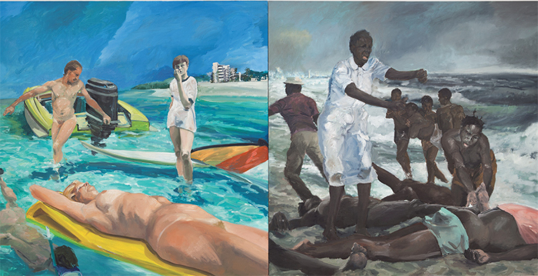 "Eric Fischl, A Visit To / A Visit From / The Island, 1983, diptych, oil on canvas, overall 7 × 14'. From ""Fast Forward: Painting from the 1980s."""