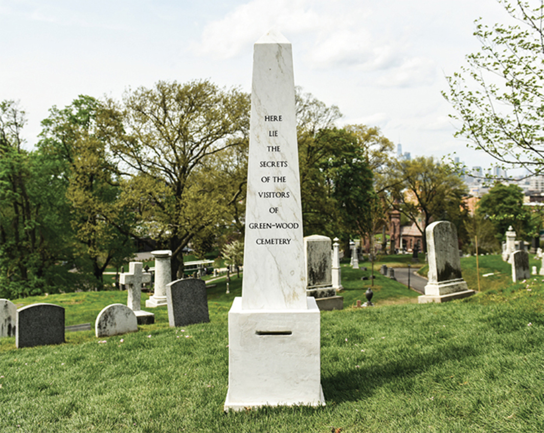 "Sophie Calle, Here Lie the Secrets of the Visitors of Green-Wood Cemetery, 2017–, marble, 81 × 20 × 20"". Photo: Leandro Justen."