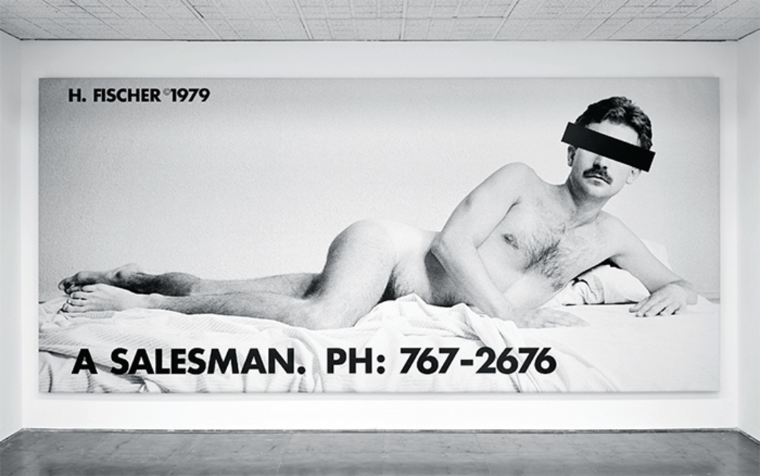 "Hal Fischer, A Salesman, 1979/2017, ink-jet print on vinyl, 6' 10"" × 14' 10"" × 2""."