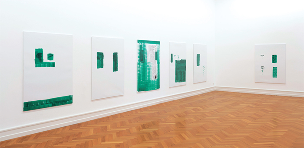 Michael Krebber, MK/M 2014/15, 2014, acrylic and spray paint on canvas. Installation view. Photo: Gunnar Meier.