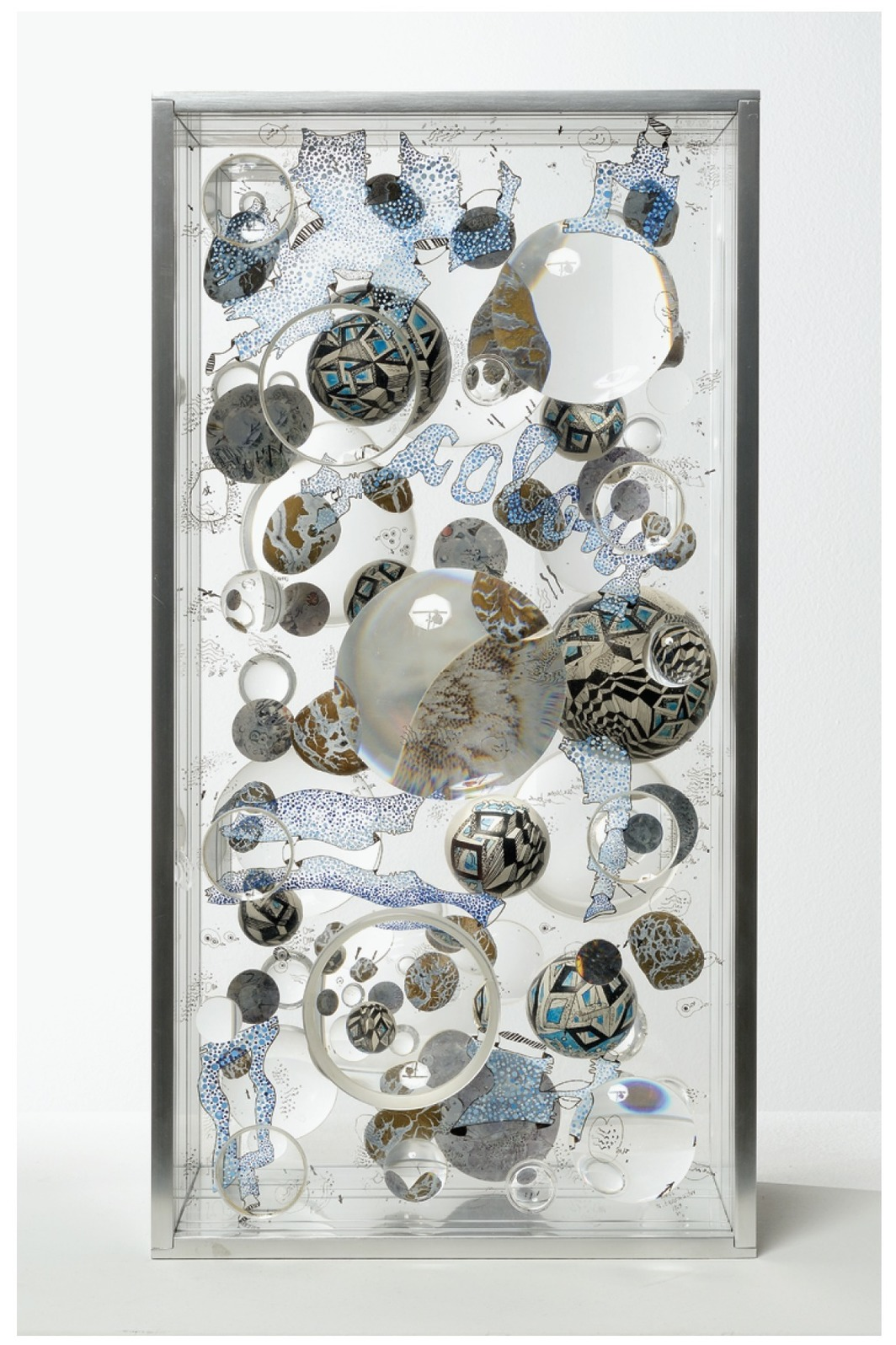 "Mary Bauermeister, Ultramarine Tubes, 1969–70, aluminum, glass, Plexiglas, optical lenses, shaped and painted wood, stones, ink, paint, 19 3/4 × 10 1/4 × 7""."
