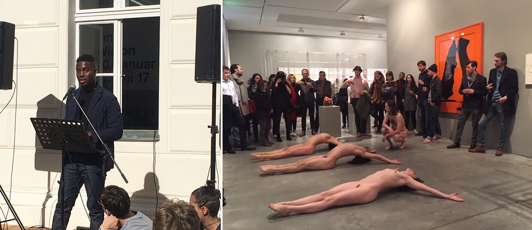 Left: Adam Pendleton at KW Institute. Right: Performance at Galerie Thomas Schulte. (Photo: Bitsy Knox)