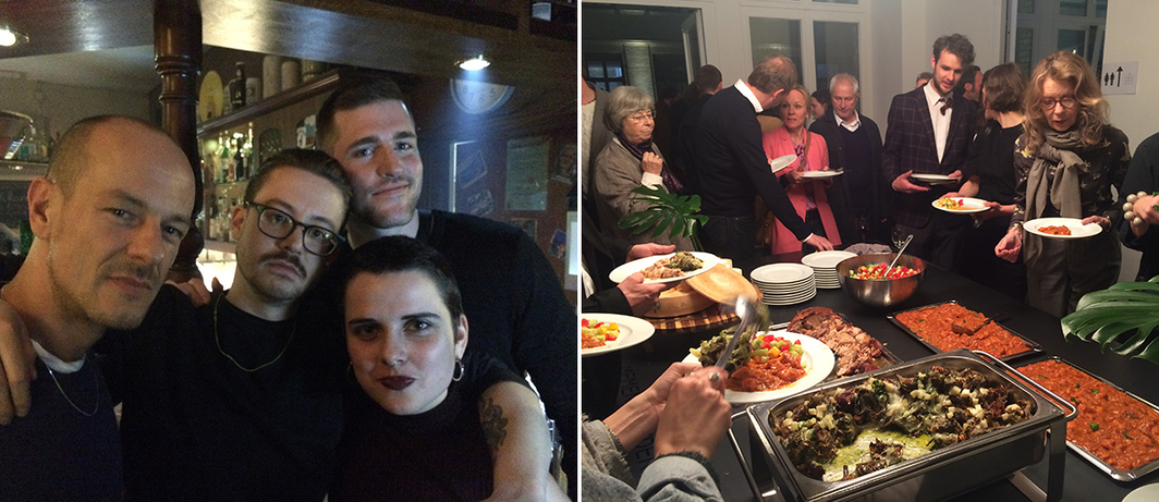 Left: Karim Cripa, Naomi Bisley, artist Maximilian Arnold, and dealer Alex Duve. Right: Dinner hosted by Daniel Marzona, PSM, and Žak Branicka.