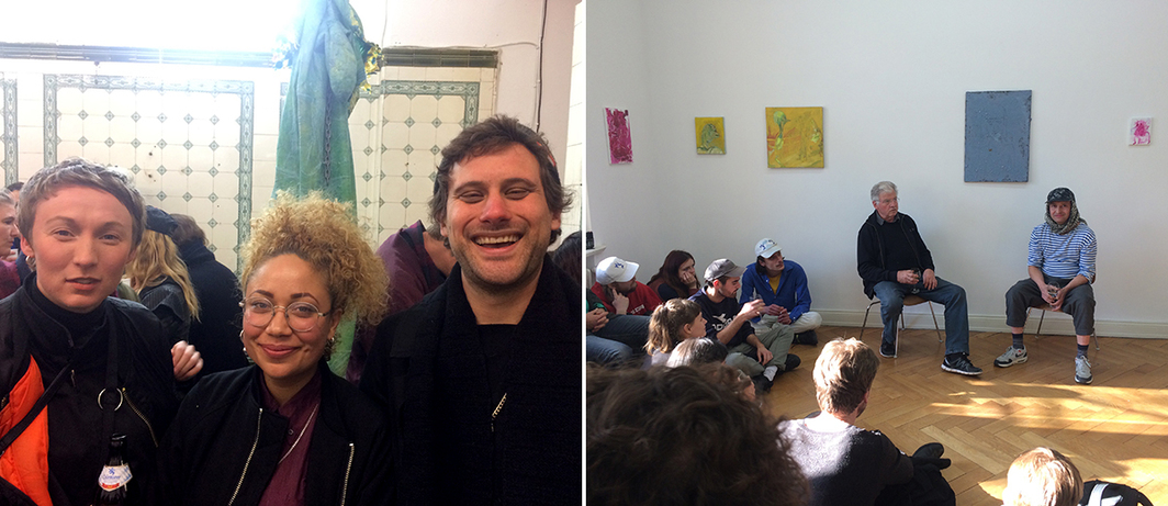 Left: Artist OMSK Social Club, curator Govanna Gonzalez, and artist Silas Parry. Right: Veit Loers and Ali Altin.
