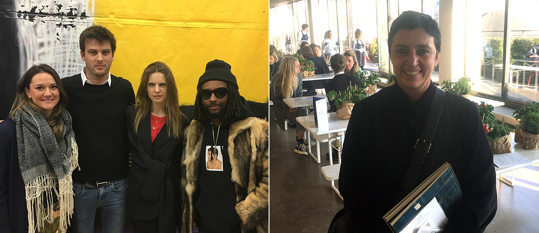 Left: Dealer Guillaume Smets, director Pascaline Smets, and artist Awol Erizku. Right: Curator Beatrix Ruf.