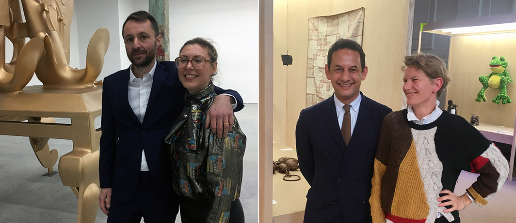 Left: Dealer Olivier Babin with curator Elena Filipovic. Right: Curator Jens Hoffman with artist Laure Prouvost.