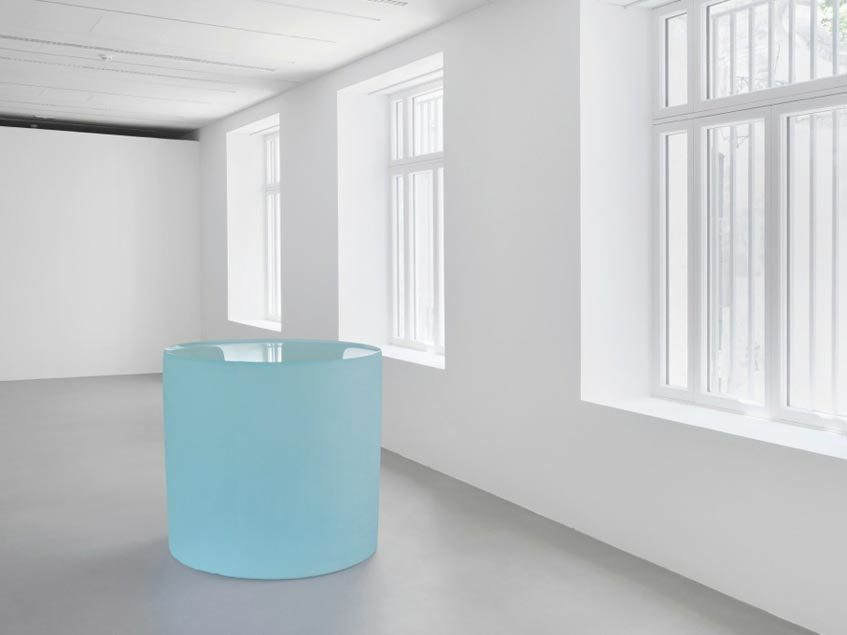 "Roni Horn, Untitled (""I deeply perceive that the infinity of matter is no dream.""), 2014, solid cast glass with as-cast surfaces, height: 50 3⁄4"" x 55"" diameter."