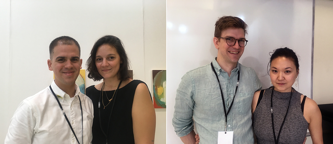 Left: Dealers José López and Agustina Ferreyra. Right: Dealers Oliver Newton and Margaret Lee.