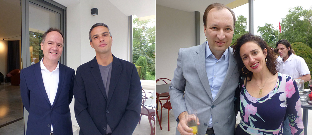 Left: Ambassador Philippe Guex with FADE IN 2 co-curator Simon Castets at the Swiss Ambassador's Residence. Right: Chief Curator at the Museum of Contemporary Art Belgrade Zoran Erić and FADE IN 2 co-curator Julie Boukobza.