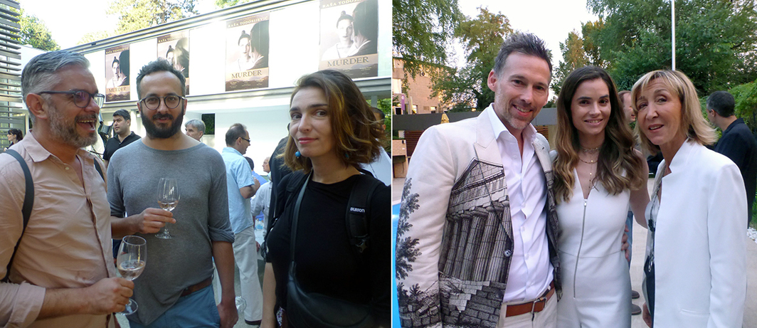 Left: Theater director Bojan Djordjev, playwright Goran Ferčec, and costume designer Maja Mirković at Gallery-Legacy Čolaković. Right: CAA agent Joel Lubin, Blakan Project's Marija Karan and advisor Patricia Marshall.