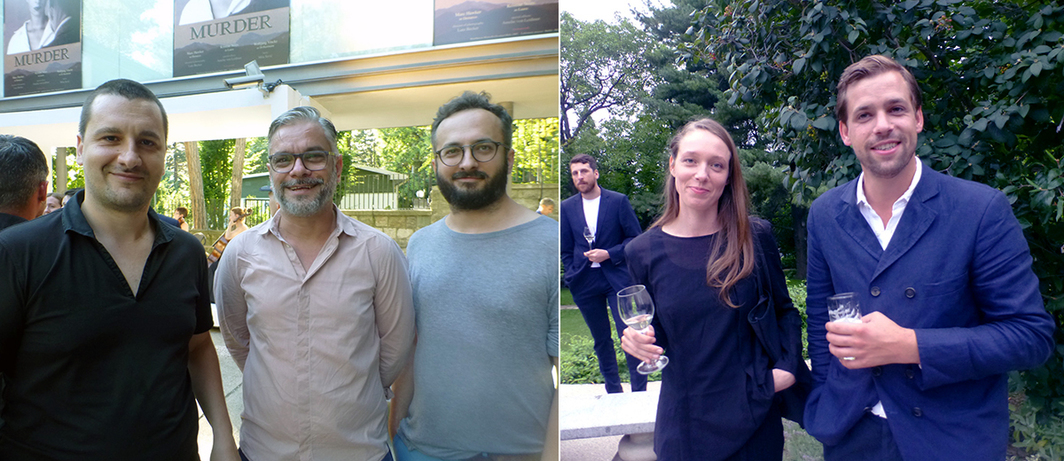 Left: Artist Siniša Ilić, theater director Bojan Djordjev and playwright Goran Ferčec at Gallery-Legacy Čolaković. Right: Artist Daiga Grantiņa and dealer Christian Wirtz at the Swiss Ambassador's Residence.