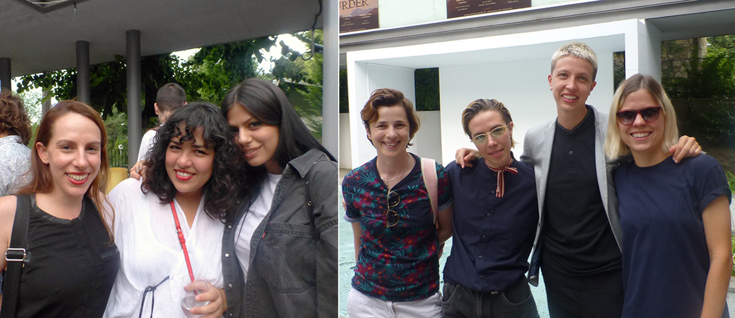 Left: Artists Dora Budor and Darja Bajagić with dealer Vanessa Carlos (center) at Gallery-Legacy Čolaković. Right: Artists Deana Petrović, Quørî Quoråll, Zanny Allport and Aleksandra Domanović at Gallery-Legacy Čolaković.