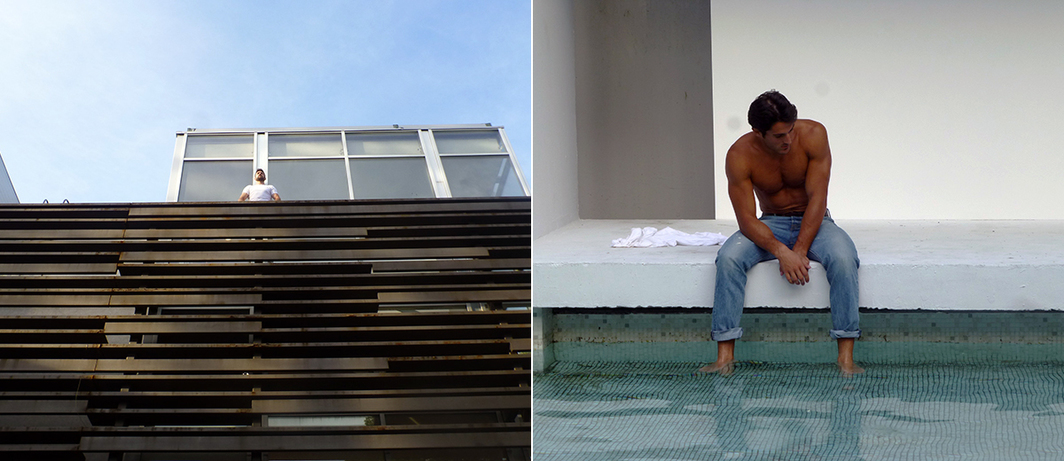 Left: Choreographer Milan Gromilić in Danai Anesiadou's Bonsoir Monsieur. Right: Model Ivan Papić in Danai Anesiadou's Bonsoir Monsieur.