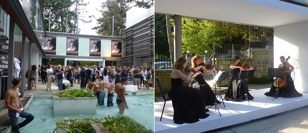 Left: Courtyard scene at Gallery-Legacy Čolaković. Right: String quartet performing at Gallery-Legacy Čolaković.