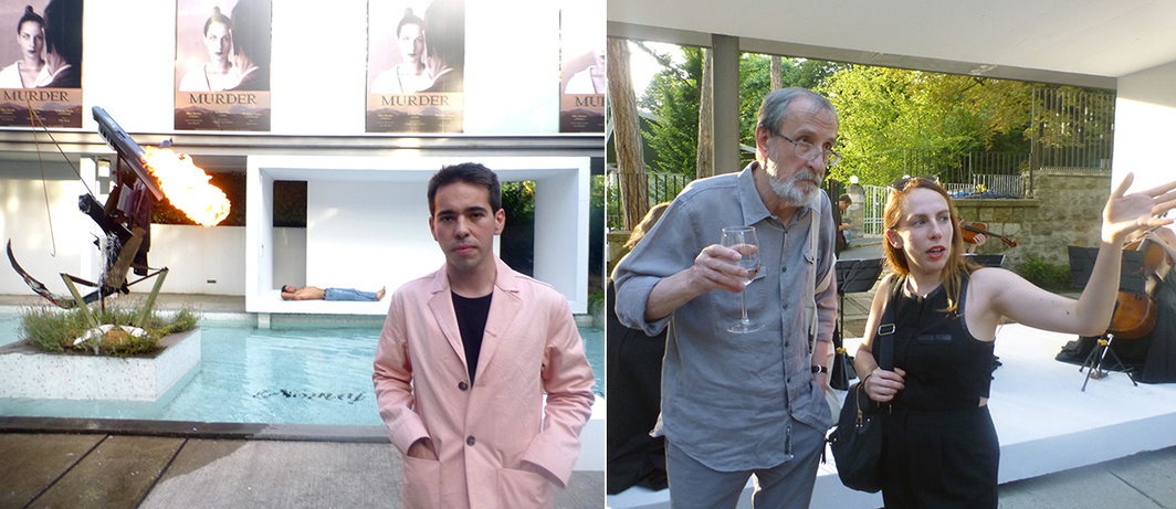 Left: Swiss Institute's Daniel Merritt at Gallery-Legacy Čolaković. Right: Artists Raša Todosijević and Dora Budor at Gallery-Legacy Čolaković.
