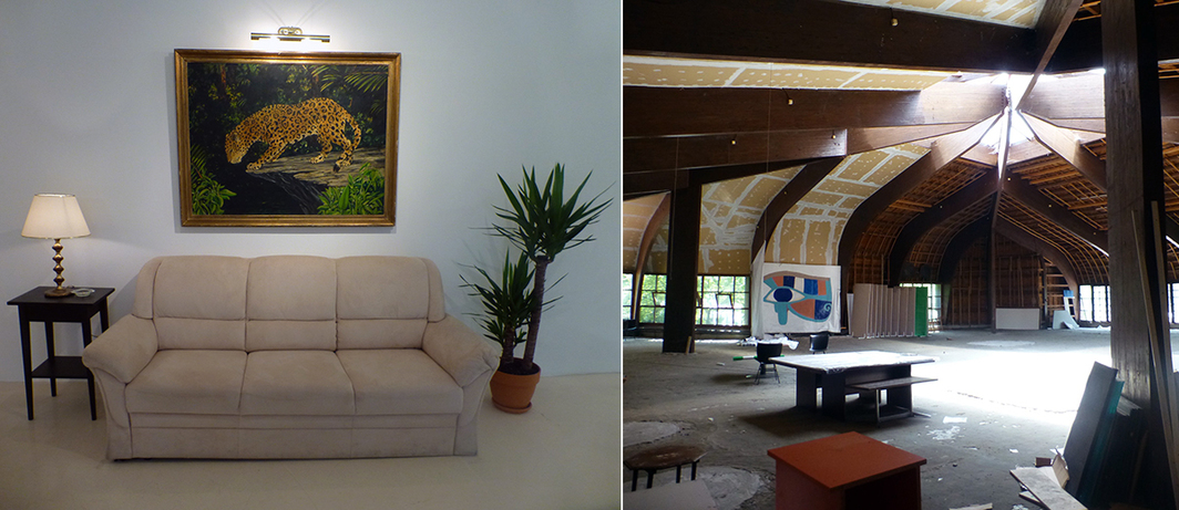 Left: William Leavitt Set for The Tropics with Jaguar, 1974, reinstalled. Right: The attic of the Museum of African Art.