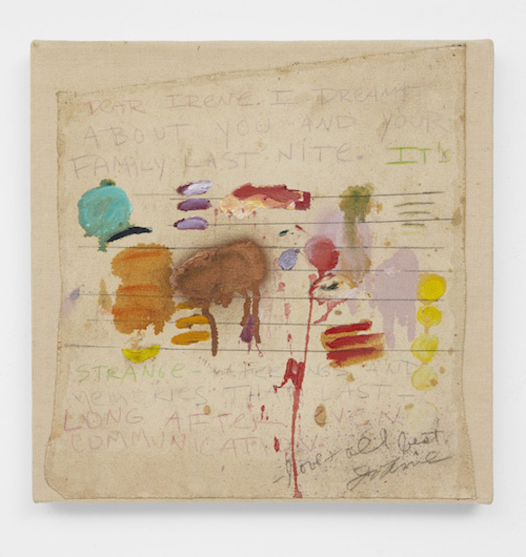 "Joan Snyder, Dear Irene, 1970, oil, acrylic, pencil, and spray paint on canvas, 15 x 15""."