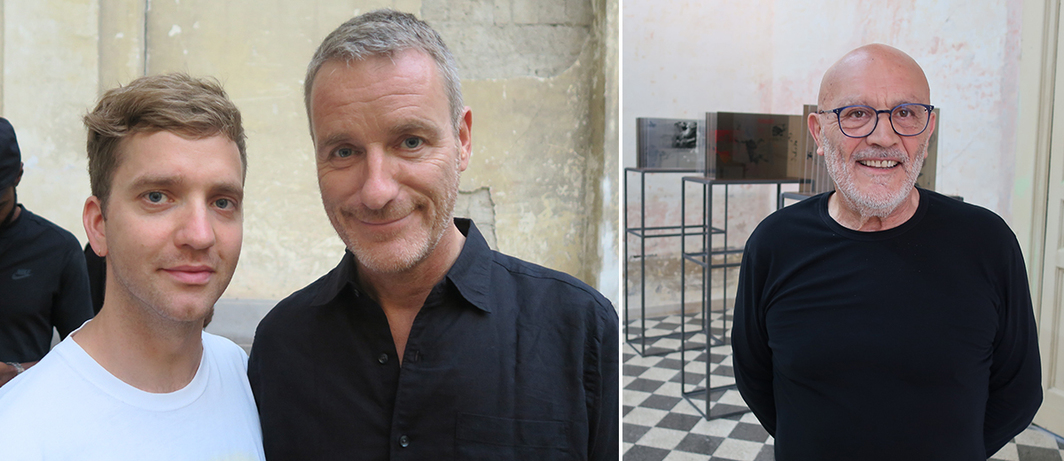 Left: Artist Eddie Peake and dealer Lorcan O'Neill. Right: Collector Giuseppe Morra.