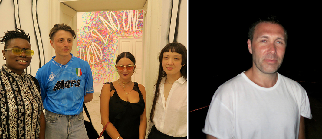 Left: Performance artists Evan Ifekoya, musician Gwilym Gold, designer Hannah Rebecca Hopkins, and performance artist Victoria Sin. Right: Vinyl Factory creative director Sean Bidder.