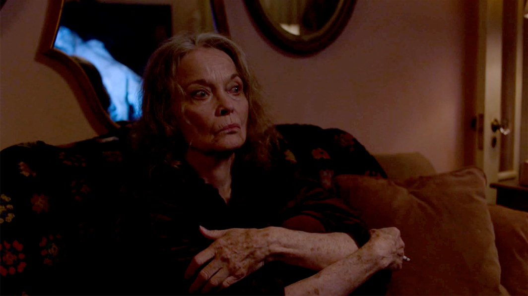 Twin Peaks: The Return, 2017, still from a TV show on Showtime. Season 3, episode 2. Sarah Palmer (Grace Zabriskie).