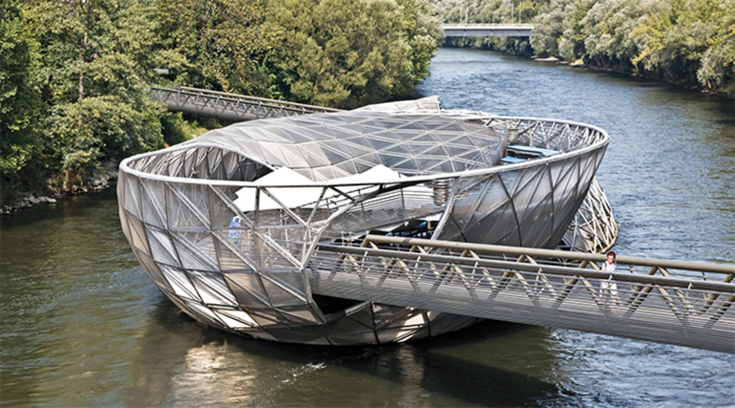 Vito Acconci, Murinsel, 2003, Graz, Austria. Photo: Bildarchiv Monheim GmbH/Alamy.