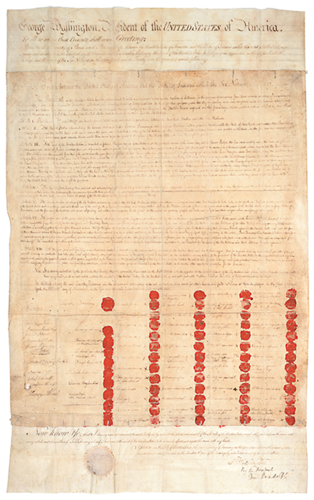 "The Treaty of Canandaigua, signed by the Grand Council of the Six Nations and George Washington, 1794. From ""Nation to Nation: Treaties Between the United States and American Indian Nations,"" 2014–21, National Museum of the American Indian, Washington, DC."