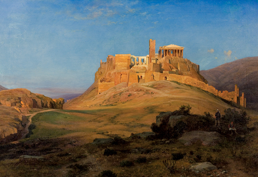 "Louis Gurlitt, Acropolis at Sunset, 1859, oil on canvas, 29 1/2 × 42 7/8"". Neue Galerie, Kassel. From Documenta 14."