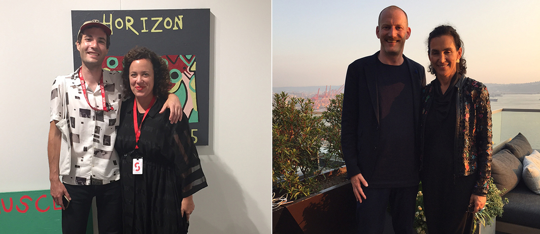 Left: Artist Dino Matt with Amy Adams of Adams and Ollman. Right: Art Agency, Partners's Matthew Thompson with dealer Shulamit Nazarian.