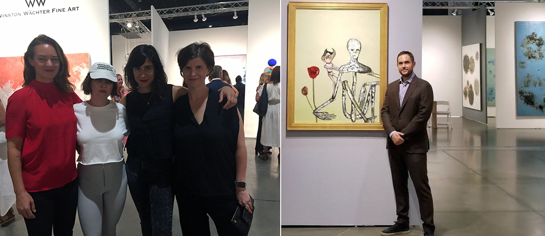 Left: Artist–musicians Sarah Strauss, FIELDED (Lindsay Powell) and Naama Tsabar with Seattle Art Fair artistic director Laura Fried. Right: Head of UTA Fine Arts Josh Roth with painting by Kurt Cobain. (Photo: UTA Fine Arts)