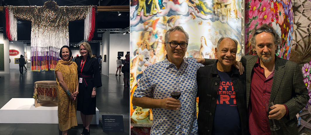 Left: Collector Dale Newberg and Julie Roberts of Roberts & Tilton. Right: Actor and collector Cheech Marin (middle) with artists Jamex and Einar de la Torre. (Photo: Traver Gallery and Koplin del Rio)