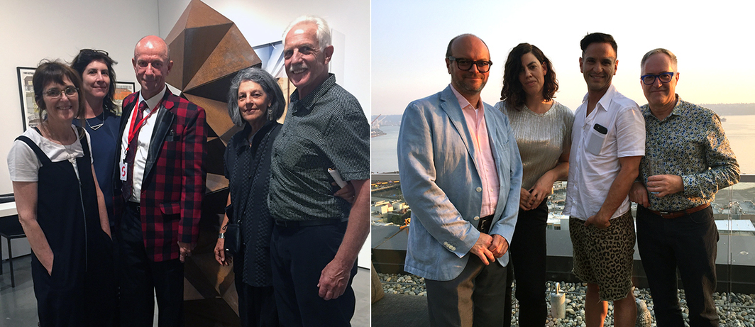 Left: Dealer Greg Kucera (center) with artists Margie Livingston, Victoria Haven, Sherry Markovitz and Peter Millett. Right: Collector Mark Tilbe, Night Gallery dealer Davida Nemeroff, art consultant Isaac Joseph, and collector Dwayne Epp.