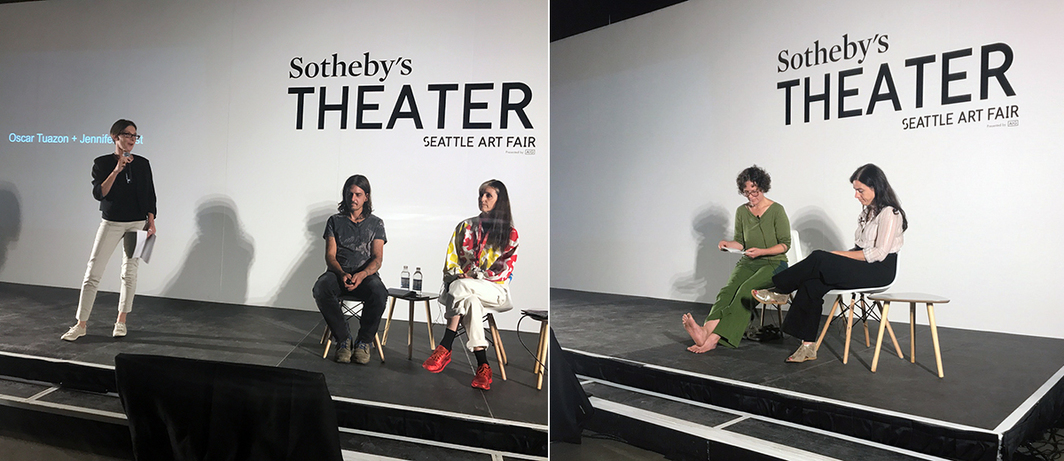 Right: Seattle Art Museum curator Catharina Manchanda with artists Oscar Tuazon and Jennifer West. Right: Artists Helen Mirra and Amie Siegel. (Photos: Laura Fried)
