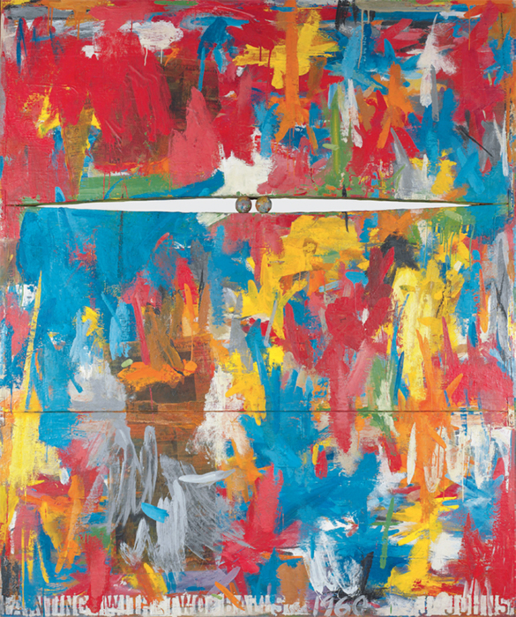 "Jasper Johns, Painting with Two Balls, 1960, encaustic and collage on canvas, wooden balls, 65 × 54 1/8"". © Jasper Johns/VAGA, New York/DACS, London."