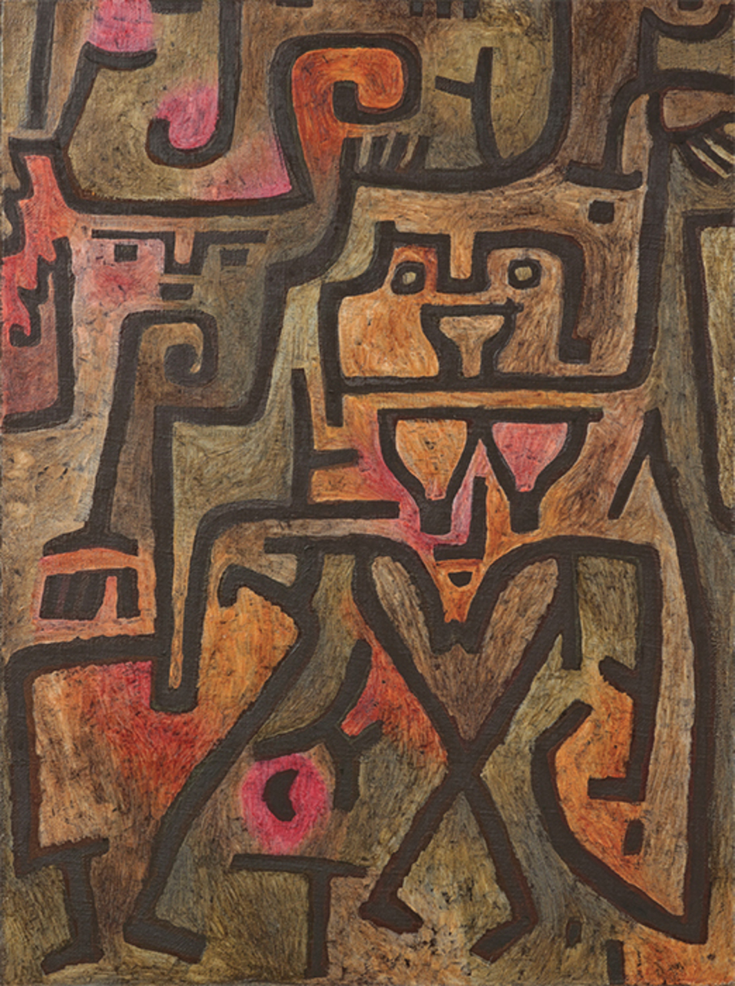 "Paul Klee, Wald-Hexen (Forest Witches), 1938, oil on paper on burlap, 39 × 29 1/8""."
