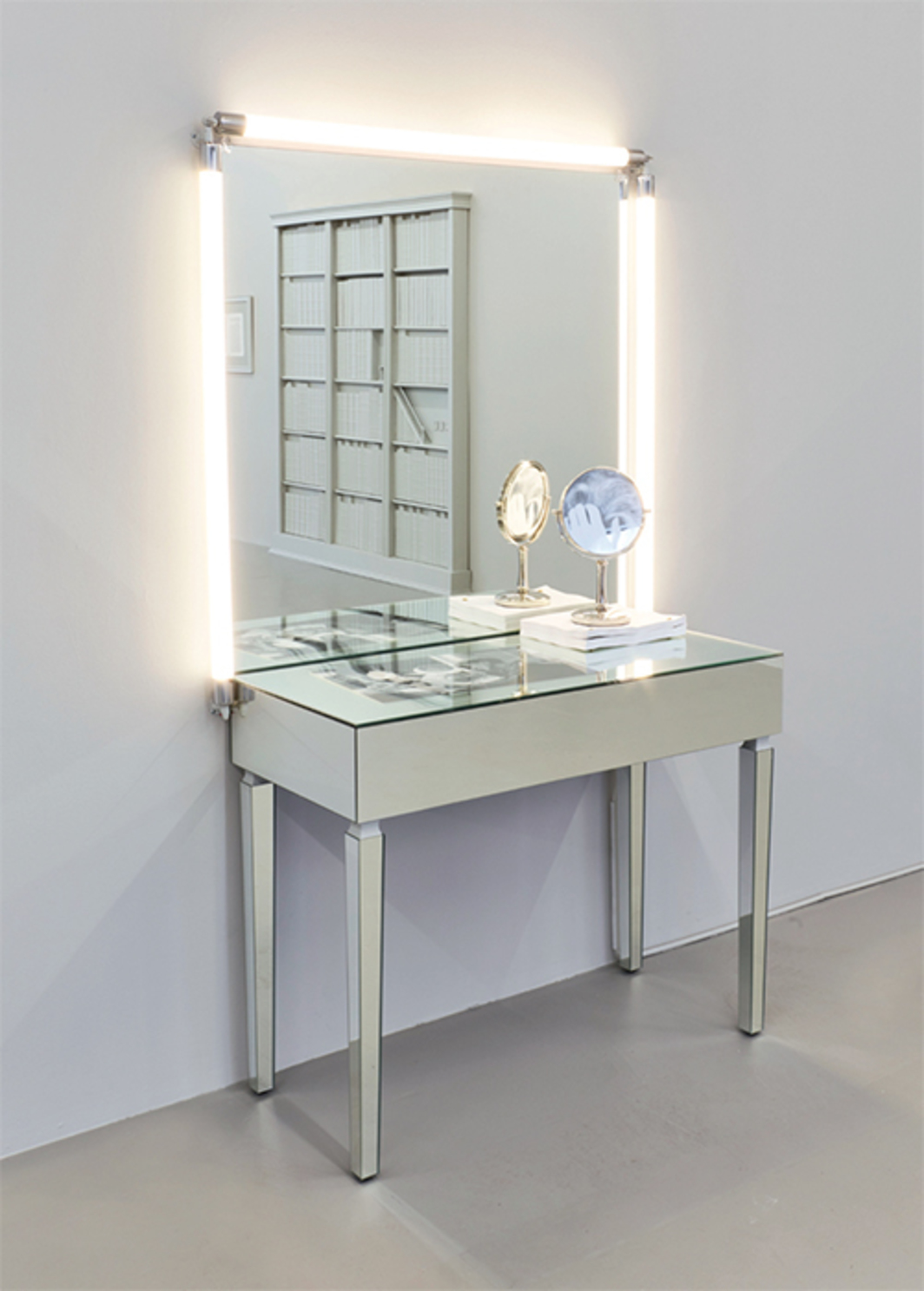 Barbara Bloom, Vanity, 2017, vanity mirror and lighting, mirrored vanity table, photo-etched vanity mirror, digital ink-jet print, movie scripts. Installation view. Photo: Max Yawney.