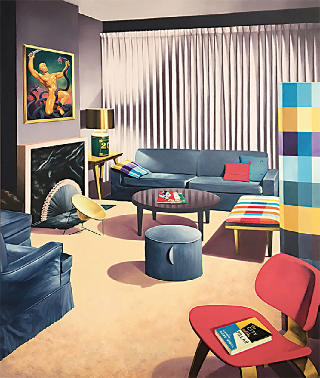 "McDermott & McGough, Furnishings, Works of Art and Other Status Symbols, 1965/2017, oil on canvas, 60 × 48""."