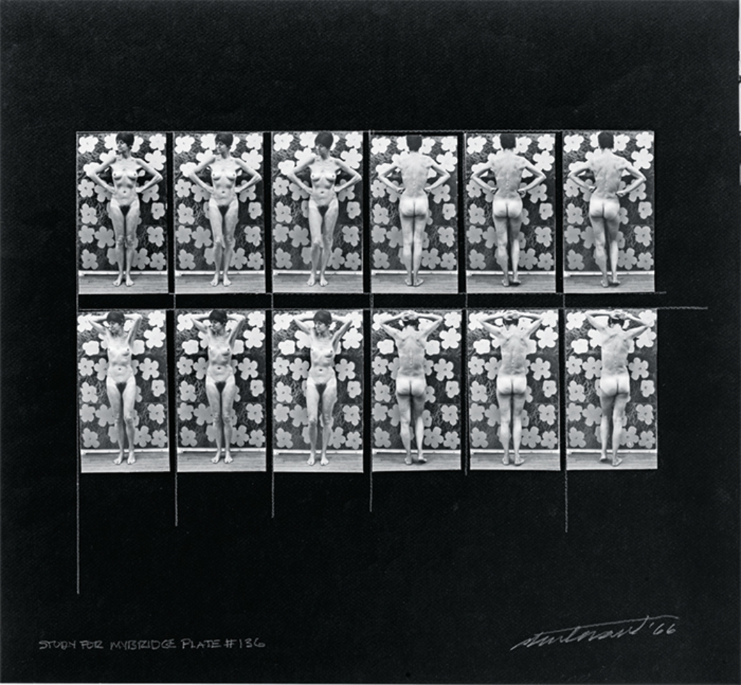 "Sturtevant, Study for Muybridge Plate #136, 1966, twelve black-and-white photographs, glue, black paper, graphite, 8 5/8 × 6 1/2""."