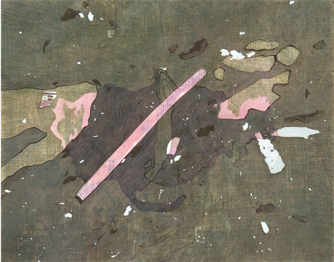 "Iulia Nistor, Evidence E1 W4 A3, 2015, oil on wood, 15 3/4 × 19 5/8""."