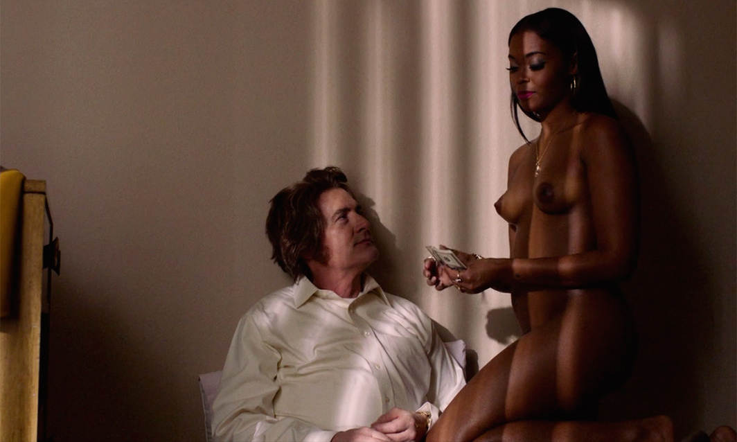 Twin Peaks: The Return, 2017, still from a TV show on Showtime. Season 3, episode 4. Dougie Jones and Jade (Kyle MacLachlan and Nafessa Williams).