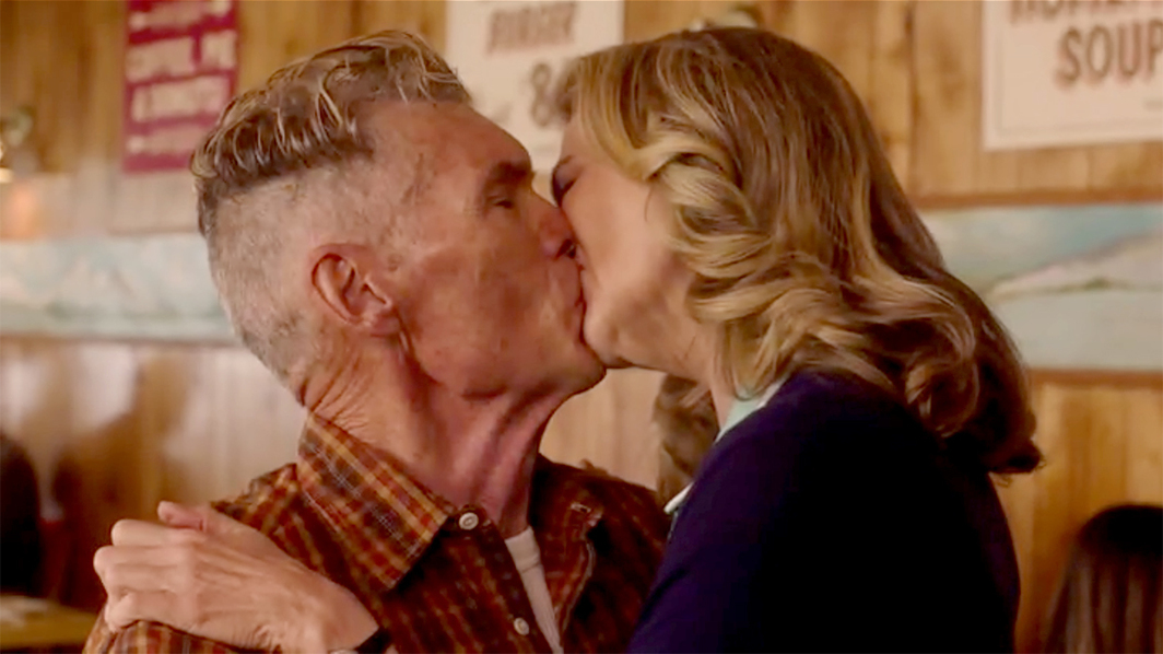 Twin Peaks: The Return, 2017, still from a TV show on Showtime. Season 3, episode 15.  Big Ed Hurley and Norma Jennings (Everett McGill and Peggy Lipton).