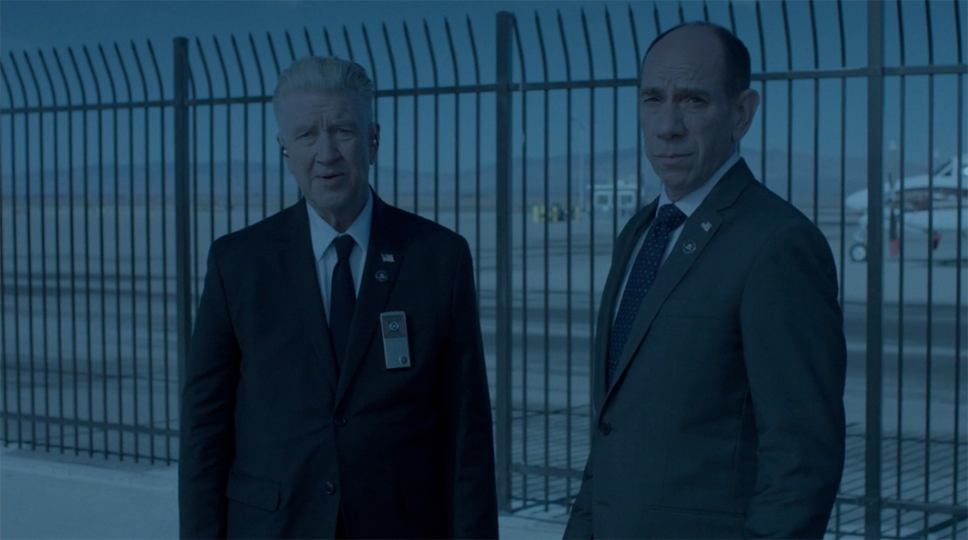 Twin Peaks: The Return, 2017, still from a TV show on Showtime. Season 3, episode 4. Regional Bureau Chief Gordon Cole and Agent Albert Rosenfeld (David Lynch and Miguel Ferrer).
