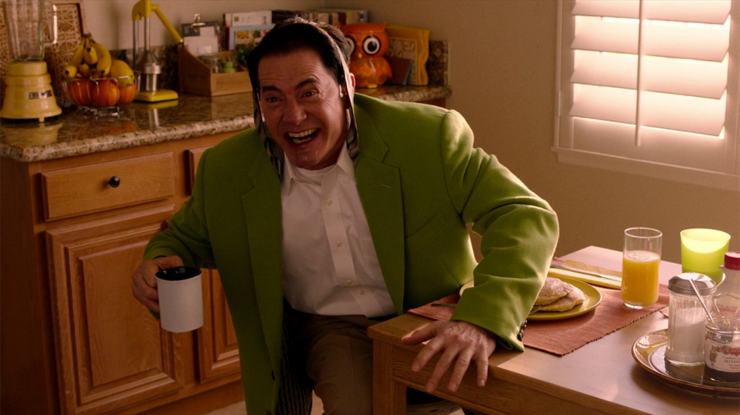 Twin Peaks: The Return, 2017, still from a TV show on Showtime. Season 3, episode 4. Dougie Jones (Kyle MacLachlan).