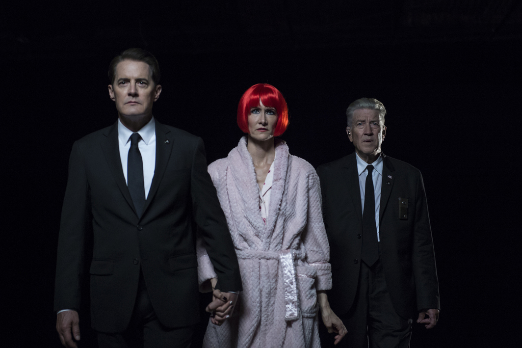 Twin Peaks: The Return, 2017, still from a TV show on Showtime. Season 3, episode 17. Agent Cooper, Diane Evans, and FBI Deputy Director Gordon Cole (Kyle MacLachlan, Laura Dern, and David Lynch).