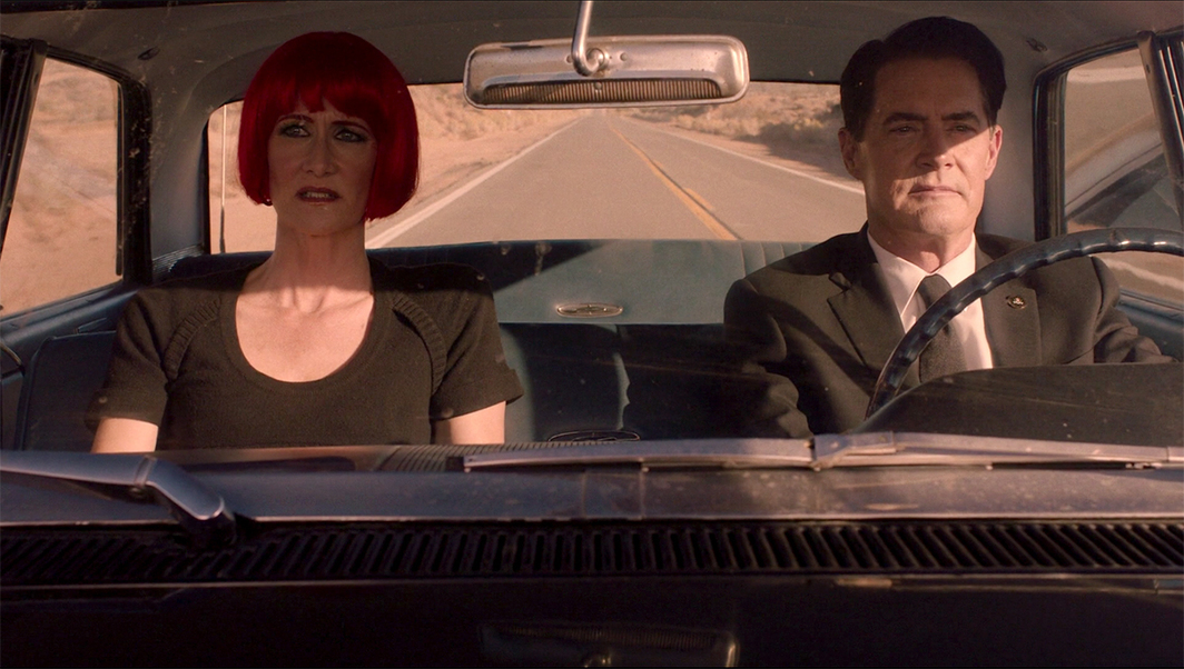 Twin Peaks: The Return, 2017, still from a TV show on Showtime. Season 3, episode 18. Diane Evans and Agent Dale Cooper (Laura Dern and Kyle MacLachlan).