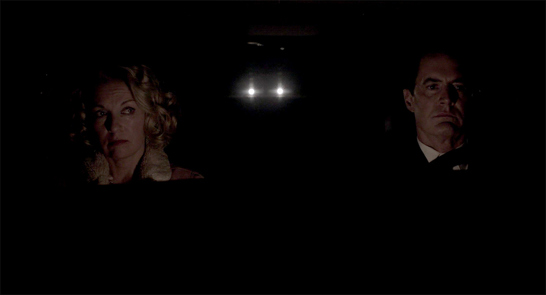 Twin Peaks: The Return, 2017, still from a TV show on Showtime. Season 3, episode 18. Carrie Page and Agent Dale Cooper? (Sheryl Lee and Kyle MacLachlan).