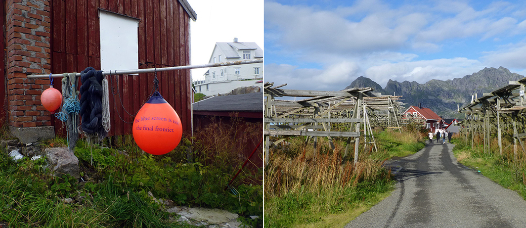 Left: Part of Youmna Chlala's text installation, How Many Tongues Does it Take to Make a Color?. Right: The path between the venues at Henningsvær.
