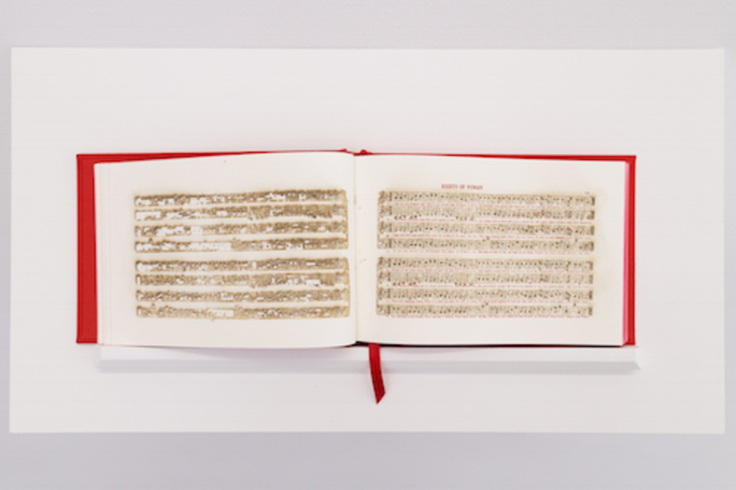 Bethany Collins, America: A Hymnal, 2017, book with 100 laser-cut leaves, 9 x 10 x 2''.